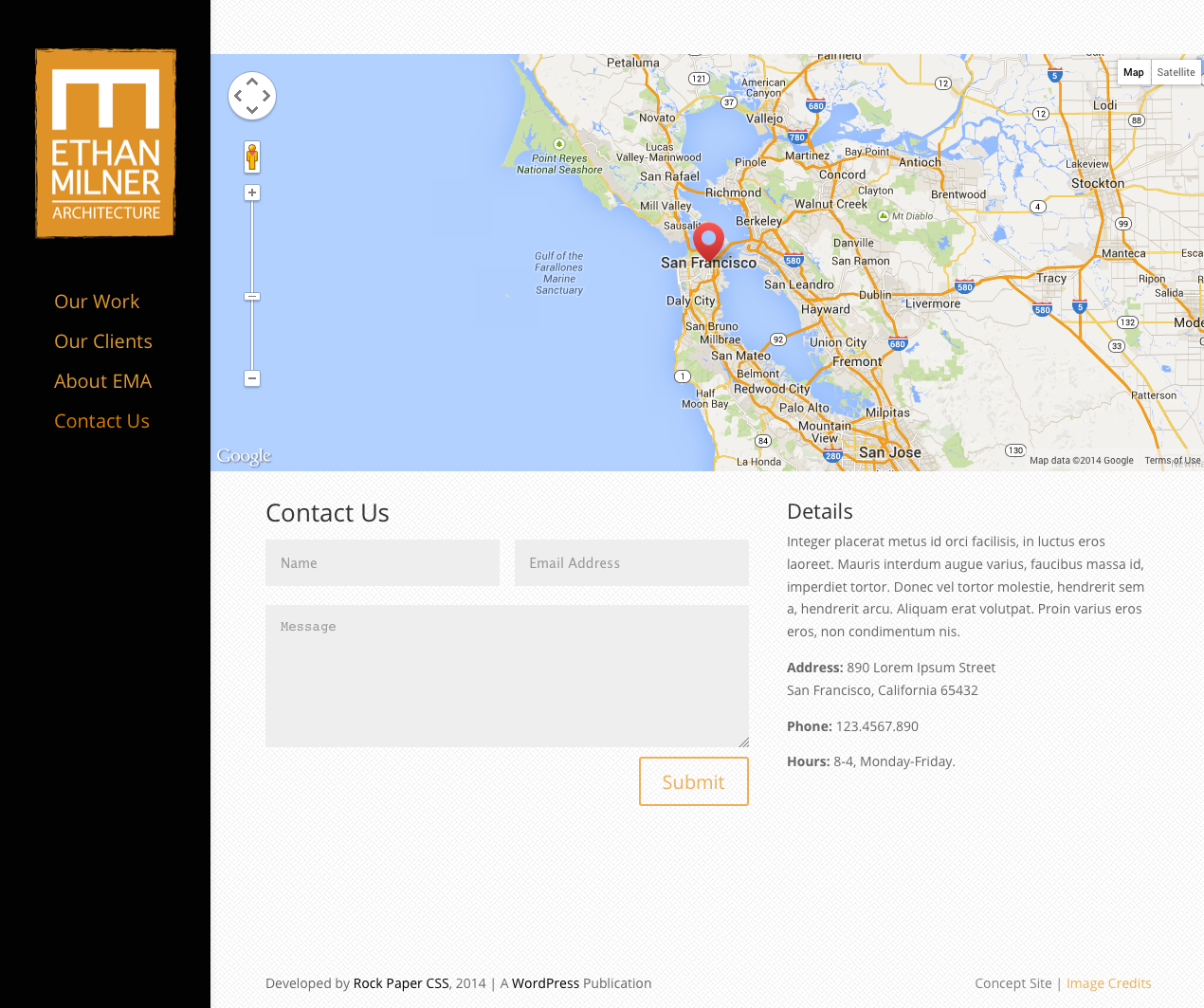 Screenshot of Web Site for Architect - Ethan Milner - Contact Page with Google map