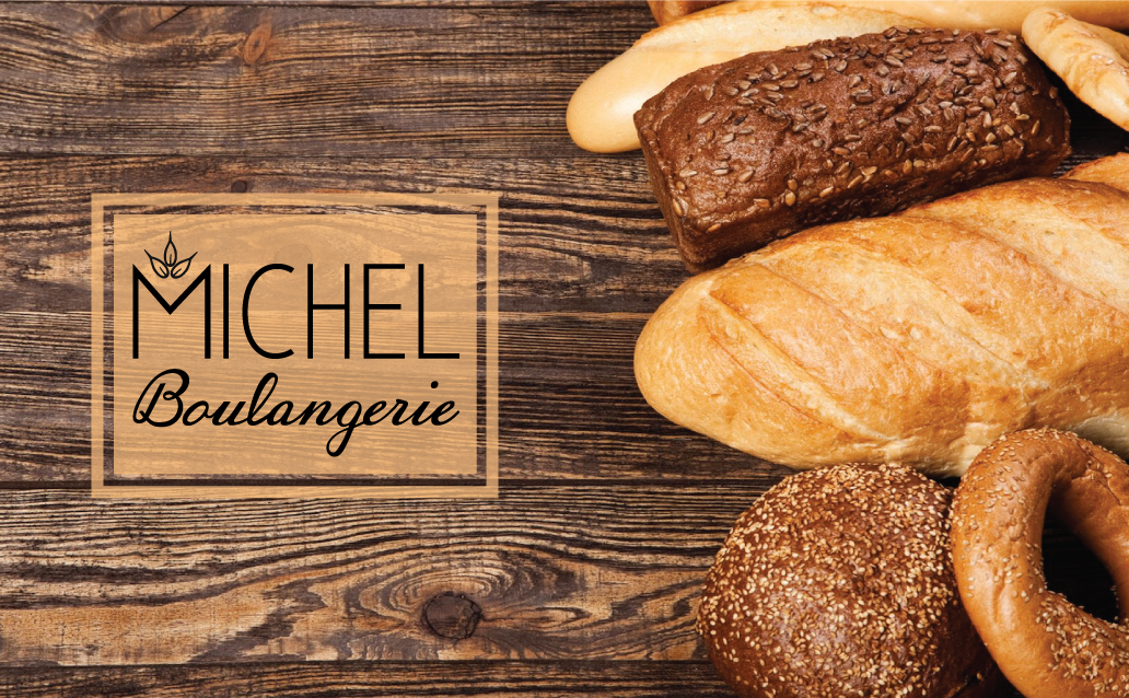 Michel Boulangerie Concept Logo Design with a photograph of rustic bread in the background