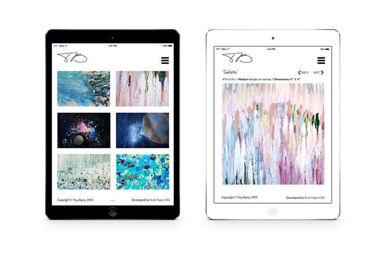 Responsive web site for artist by Acacia Carr