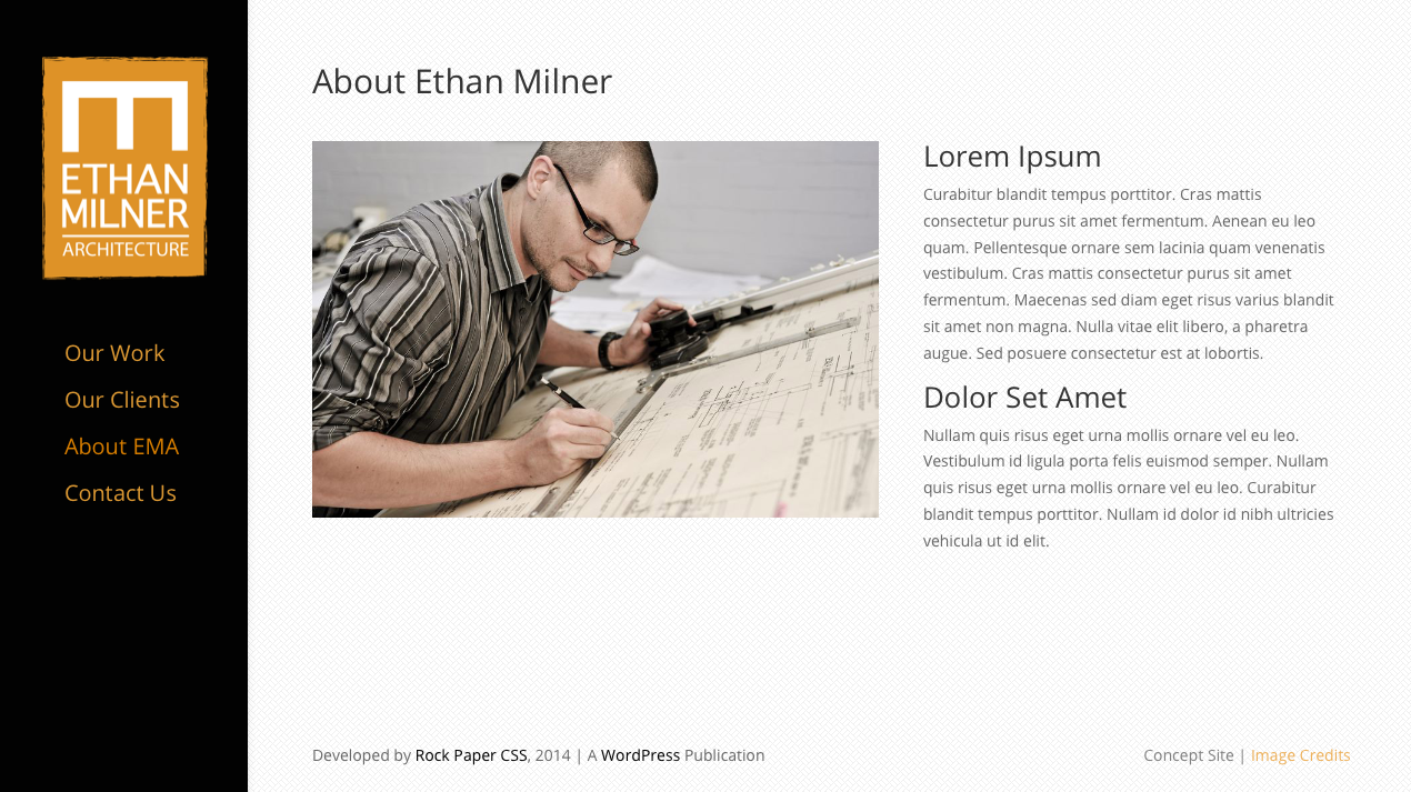 View of web site for Architect - About Page