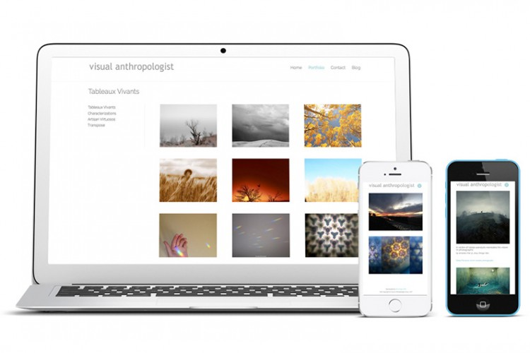 View of responsive web site on iMac Air and iPhone 5