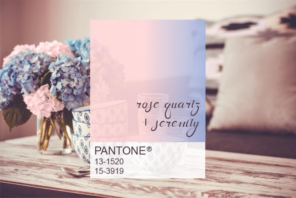 PANTONE Color of the Year 2016 Rose Quartz + Serenity