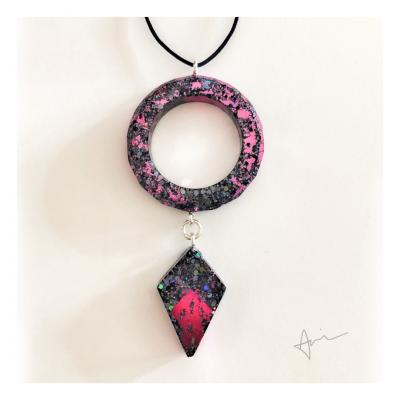 Pink + Black Galactic Arrowhead - Handmade by Acacia Carr