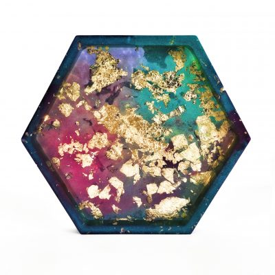Tourmaline and Gold Flake Inspired Resin Coaster - Handmade by Acacia Carr