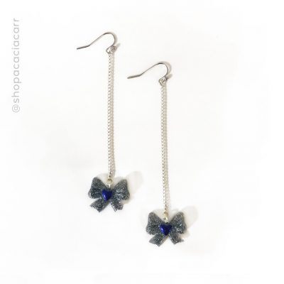 Bow + Chain Earrings - Handmade by Acacia Carr