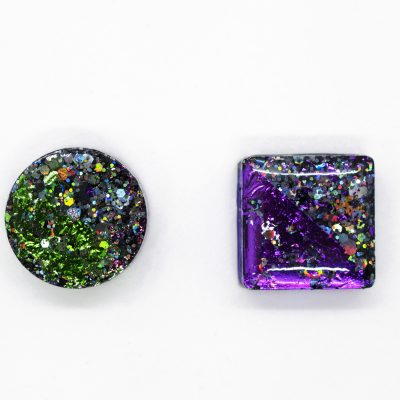 Circle + Square Mismatched Earrings in Galctic Black with Purple and Green Metallic Foil - Handmade with Ecoresin by Acacia Carr, 2021