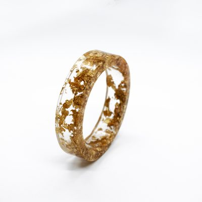 Clear Ecoresin Bangle Bracelet with Gold Tone Metal Flakes - Handmade by Acacia Carr, 2020