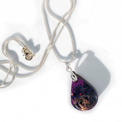 """In a Whirl"" - Purple Ecroresin Pendant Style Necklace - Handmade by Acacia Carr"