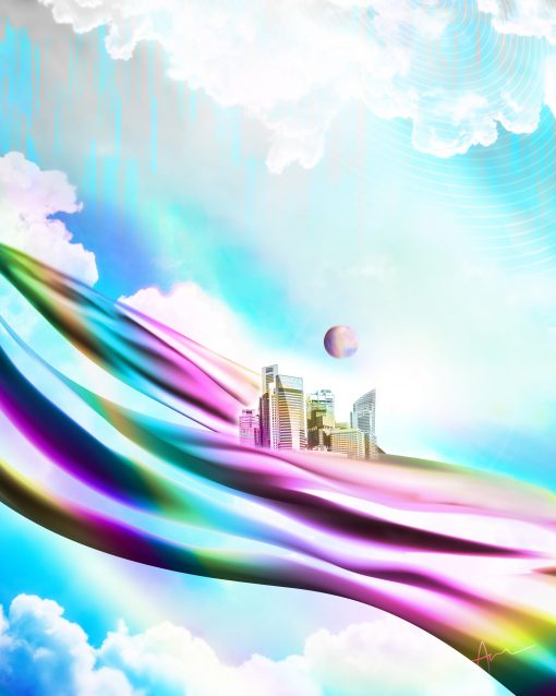 """""""The City in the Sky"""" - Digital Art Poster Print by Acacia Carr, Copyright 2020. All rights reserved."""