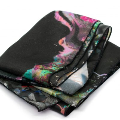 """""""Night Vision"""" Digitally Printed Silk Scarf by Designer Acacia Carr - All rights reserved. Copyright 2021"""