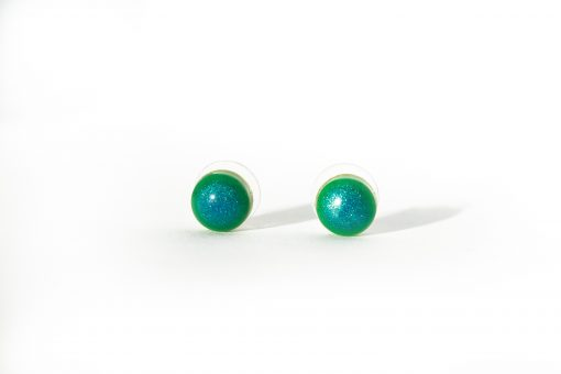 """""""Shimmer Dot"""" Small Polka Dot Earrings - in Blue to Green Ombre - Handmade by Acacia Carr"""