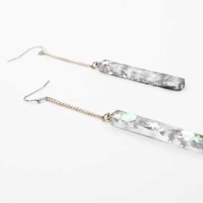 Silver Star Drop Earrings - Ecoresin - Handmade by Acacia Carr