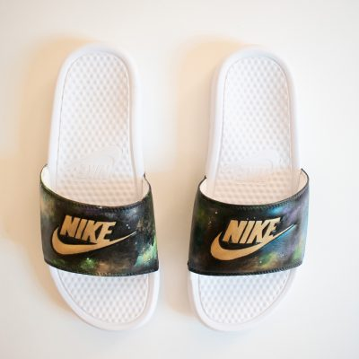 Galaxy Hand Painted Nike Slides - by Acacia Carr